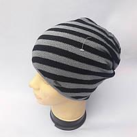 Молодежная вязаная шапка на флисе для мужчин и девушек