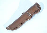 Чехол для ножа большой конверт плетеный с застежкой кожаный коричневый