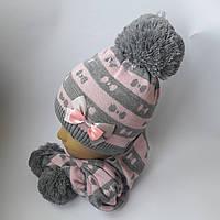 Детский зимний набор шапка+шарф для девочки на флисе 8-14 лет оптом