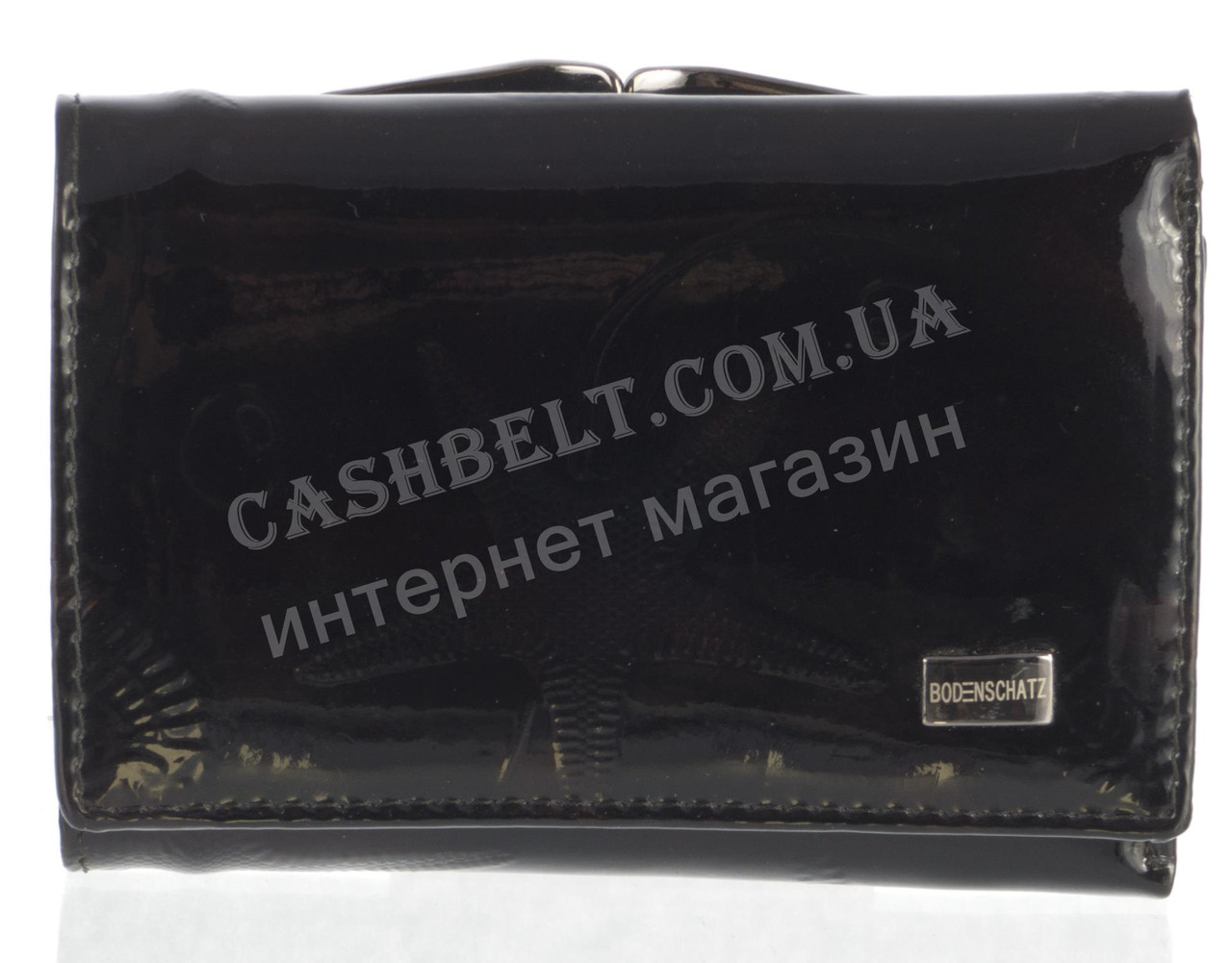 Маленький стильный лаковый женский кожаный кошелек высокого качества BODENSCHATZ art. 2239-A75 черный