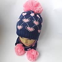 Детская вязаная шапка на флисе с ушами 7-10 лет оптом
