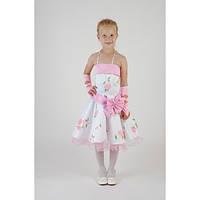 Нарядное платье белое с розовыми розами HM-2205 (5-7 лет)