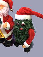 """Новогодняя Фигурка """"Елочка с Санта Клаусом"""" - музыкальная, цвет: зеленый"""