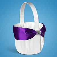 Свадебная корзинка для лепестков роз белая с фиолетовой лентой