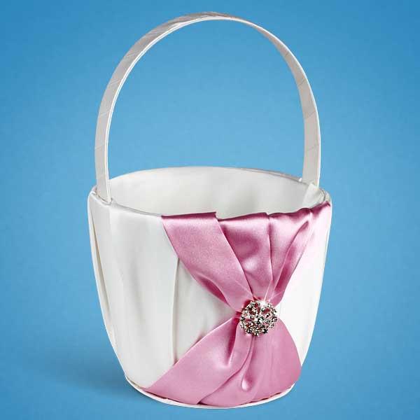 Свадебная корзинка для лепестков роз белая с розовой отделкой