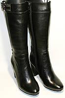 Полусапожки женские Welfare 240553 черные, натуральная кожа/мех, на каблуке 9 см, молния и мех до верха.