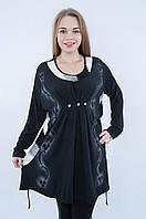 Женская туника БАТАЛ темно-серого цвета 8037, фото 1