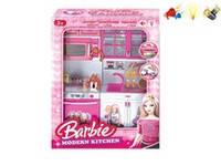Кухня музыкальная Barbie (арт. QF26216BA), пластик,свет,музыка,батар.,27x9.5x34.5см JAMBO 100653656