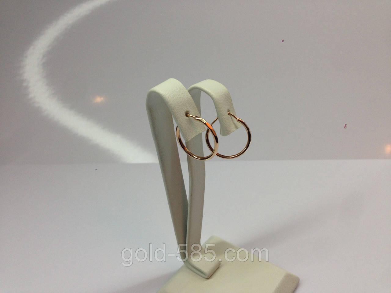 """Небольшие граненные золотые серьги """"Конго"""" с диаметром 1,5 см - Мастерская ювелирных украшений «GOLD-585» в Запорожье"""