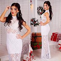 Вечернее женское платье из гипюра, 5 расцветок