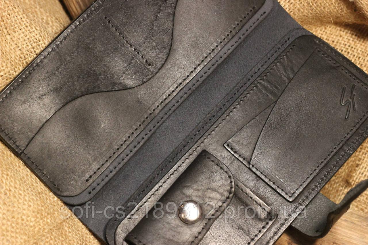 0b523a99b4f1 Черный кожаный кошелек, цена 600 грн., купить в Запорожье — Prom.ua  (ID#426248196)