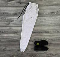 Зимние мужские спортивные штаны на флисе Nike (светло-серые)