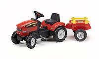 Трактор на педалях Farm Mustang Falk с прицепом красный