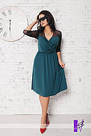 Платье на запах с отделкой из стретч сетки 957 Батал! (МЮ)