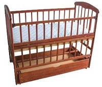 Деревянная кровать Наталка с откидной боковиной, маятником и ящиком. Темная