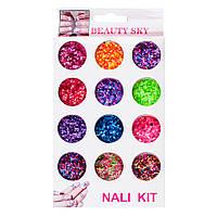 Набор конфети, яркие  для дизайна ногтей, цветные 12 шт, №2, фото 1