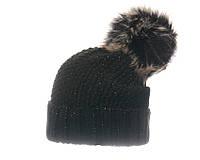 Женская шапка с меховым помпоном чёрная