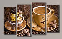Картина модульная на холсте Кофе с пироженным