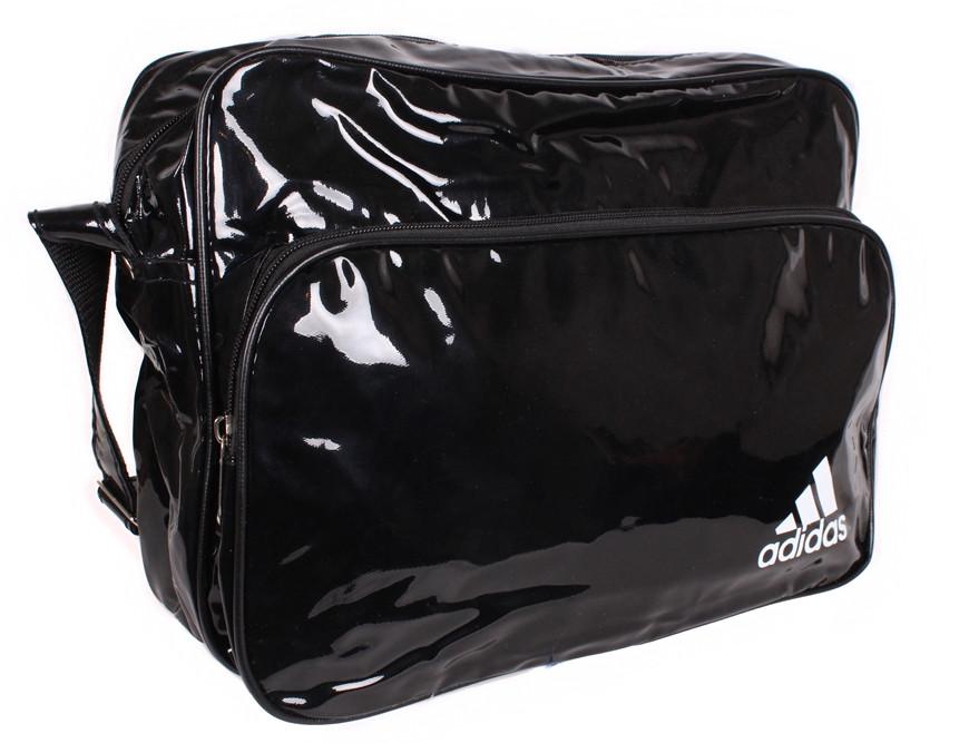 Спортивная сумка Adidas лакированная через плечо формат а4 черная