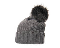 Женская шапка с меховым помпоном серая