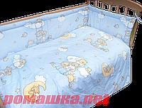 """Защита (ограждение, бортики, охранка, бампер) """"Мишка на лестнице"""" на всю кроватку из двух частей, 360х35 см Голубой"""
