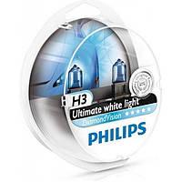 Лампа галогенная Philips H3 Diamond Vision 5000K, 2шт/блистер, 12336DVS2