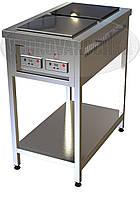 Промышленная электроплита (индукционная) - 6 кВт, 2 (двух) конфорочная, с станиной и полкой