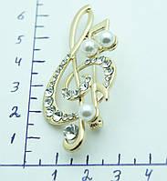Золотой скрипичный ключ- брошь для музыкантов. 455
