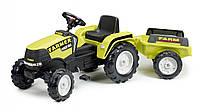 Трактор педальный с прицепом Falk  FARM POWER MAX оливковый