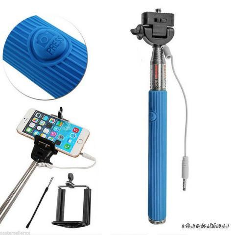 Монопод для селфи Monopod with cable take pole blue