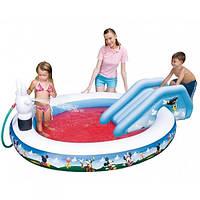 Надувной игровой центр Микки 91014 бассейн с душем и горкой