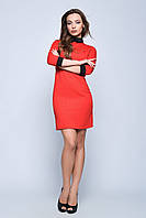 Женское модное платье красного цвета с воротничком