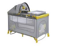Детская кровать-манеж NANNY 2 LAYER PLUS ROCKER YELLOW ELEPHANT (пеленатор, козырек, матрас) ТМ Lorelli/Bertoni