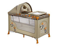 Детская кровать-манеж NANNY 2 LAYER PLUS BEIGE SAFARI TOURS (пеленатор, козырек с игрушками, матрас) ТМ Lorelli/Bertoni