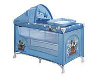 Детская кровать-манеж NANNY 2 LAYER PLUS BLUE ADVENTURE (пеленатор, козырек с игрушками, матрас) ТМ Lorelli/Bertoni