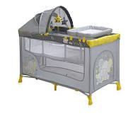Детская кровать-манеж NANNY 2 LAYER PLUS YELLOW ELEPHANTS (пеленатор, козырек с игрушками, матрас) ТМ Lorelli/Bertoni