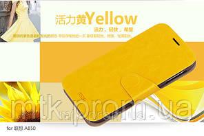 Чехол-книжка MOFI для телефона Lenovo A850 жёлтый
