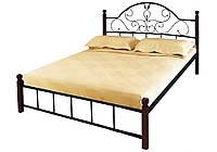 """Металлическая двуспальная кровать """"Анжелика"""" на деревянных ножках Металл-Дизайн"""