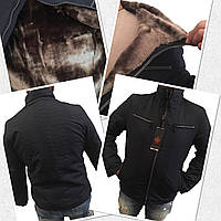 Мужская куртка классика на меху черная, фото 1