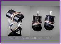 Серебряный набор - серьги и кольцо  с агатом  и золотыми вставками