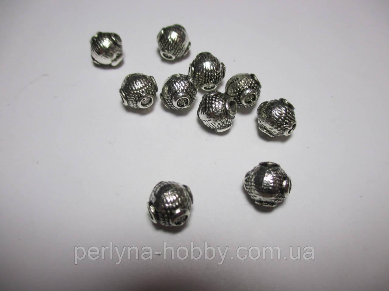 Коралик металевий Кулька 7 мм,  Античне срібло 10 шт.