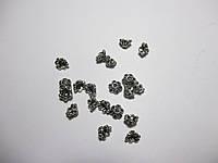 Обіймачі для біжетерії малі Конус Квітка, литий метал колір античне срібло10 шт