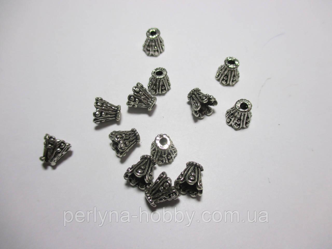 Обіймачі для біжетерії Конус ажурні, литий метал колір античне срібло темне10 шт