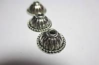 Обіймачі для біжетерії малі Конус, литий метал колір античне срібло10 шт, фото 1