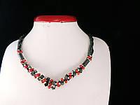 Жгут из гематита со вставками маерки, красный, фото 1