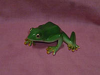 Жаба зеленая декоративная фарфоровая статуэтка 10 сантиметров длина