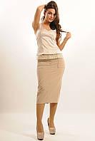 Удобная в носке юбка длины миди со спортивными деталями, с карманами, костюмная ткань, 42-52 размеры 42