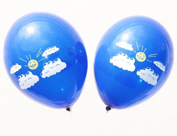 """Шары латексные 12""""(30см) пастель синяя  Солнце в тучах, 2 цвета с 2-х сторон"""