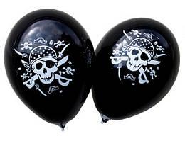 """Шары латексные 12""""(30см) черная пастель  Пират , 2 штампа В упак:100шт"""