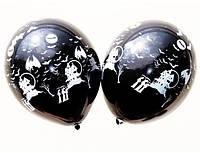 """Шары латексные 12""""(30см) пастель черная  Замок летучая мышь, 5 штампов"""